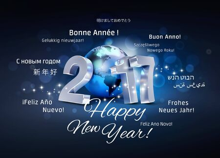 worldwide wish: 2017 New Year type composed with a blue planet earth, surrounded by greeting words in multiple languages - 3D illustration