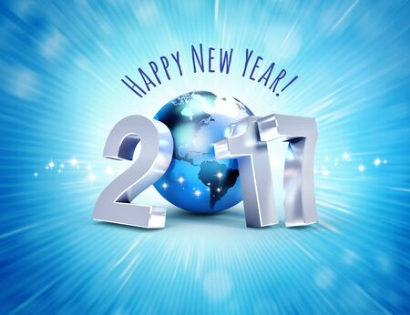 worldwide wish: Greeting and 2017 New Year type composed with a blue planet earth, on a shiny blue background - 3D illustration