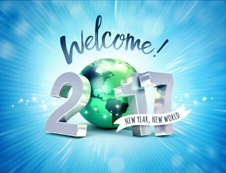 worldwide wish: Greeting and 2017 New Year type composed with a green planet earth, on a shiny blue background - 3D illustration Stock Photo