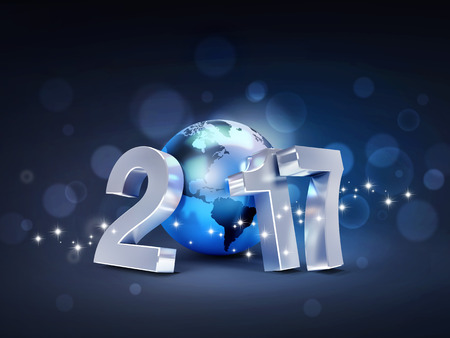 worldwide wish: 2017 New Year type composed with a blue planet earth, on a sparkling black background - 3D illustration