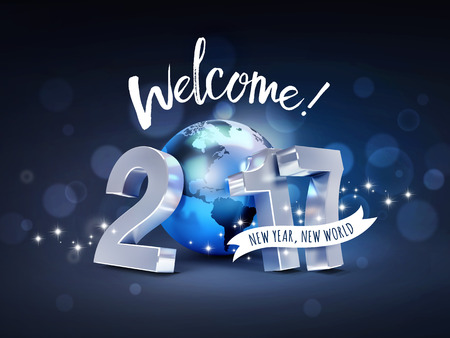 worldwide wish: Greeting and 2017 New Year type composed with a blue planet earth, on a sparkling black background - 3D illustration