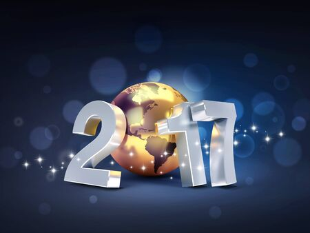 worldwide wish: 2017 New Year type composed with a golden planet earth, on a sparkling black background - 3D illustration