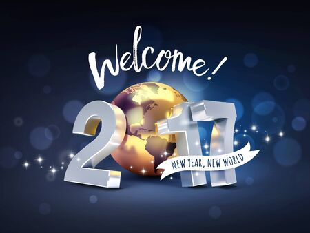 worldwide wish: Greeting and 2017 New Year type composed with a golden planet earth, on a sparkling black background - 3D illustration