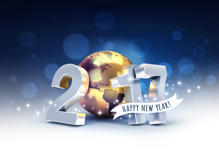 Greeting and 2017 New Year type composed with a golden planet earth, on a letterhead black background - 3D illustration Stock Photo