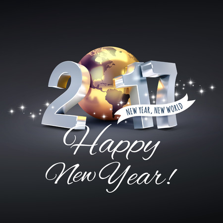 worldwide wish: Greetings and 2017 New Year type composed with a golden planet earth, glittering on black background - 3D illustration