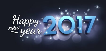 new year greeting: Blue 2017 year type and greetings on a bright festive black background - 3D illustration