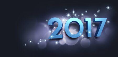 Azul 2017 Tipo años sobre un fondo negro la fiesta brillante - ilustración 3D