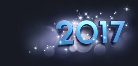 best: Blue 2017 year type on a bright festive black background - 3D illustration Stock Photo