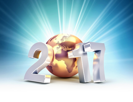 success business: 2017 New Year type composed with a golden planet earth, on a shining light background - 3D illustration Stock Photo
