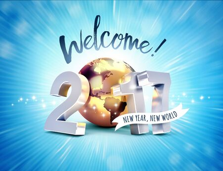 worldwide wish: Greeting and 2017 New Year type composed with a golden planet earth, on a shiny blue background - 3D illustration