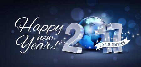 new technology: Greetings and 2017 New Year type composed with a blue planet earth, glittering on black background - 3D illustration