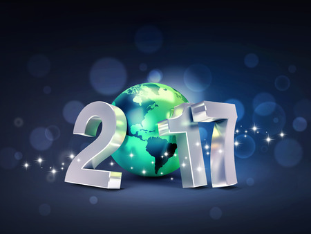 worldwide wish: 2017 New Year type composed with a green planet earth, on a glittering black background - 3D illustration Stock Photo