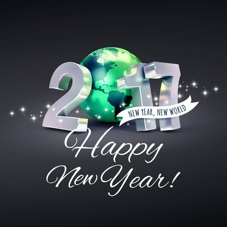 worldwide wish: Greetings and 2017 New Year type composed with a green planet earth, on a glittering black background - 3D illustration