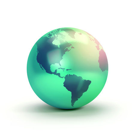 continente americano: Símbolo verde de la tierra del planeta aislado en blanco, mostrando el continente americano - ilustración 3D