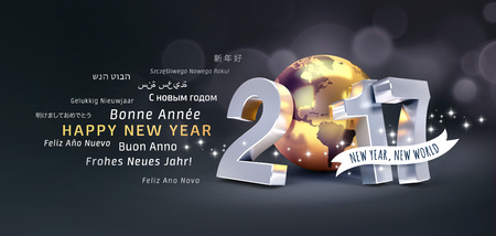 new beginning: International greetings and 2017 New Year type composed with a golden planet earth, glittering on black background - 3D illustration