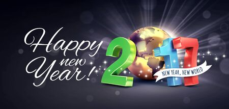 worldwide wish: Greetings and 2017 New Year colorful type composed with a golden planet earth, on a glittering black background - 3D illustration