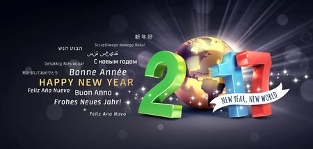 worldwide wish: International greetings and 2017 New Year colorful type composed with a golden planet earth, glittering on black background - 3D illustration