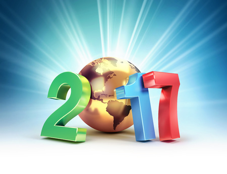 2017 New Year colorful type composed with a golden planet earth, on a shining light background - 3D illustration Stock Photo