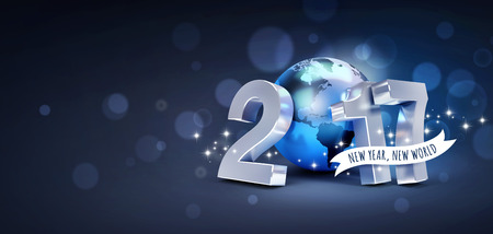 worldwide wish: Greetings and 2017 New Year type composed with a blue planet earth, on a glittering black background - 3D illustration Stock Photo