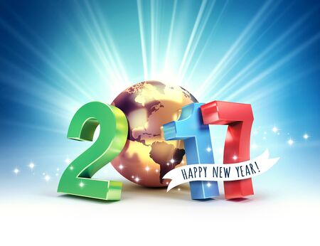 shining light: 2017 New Year colorful type composed with a golden planet earth, on a shining light background - 3D illustration Stock Photo