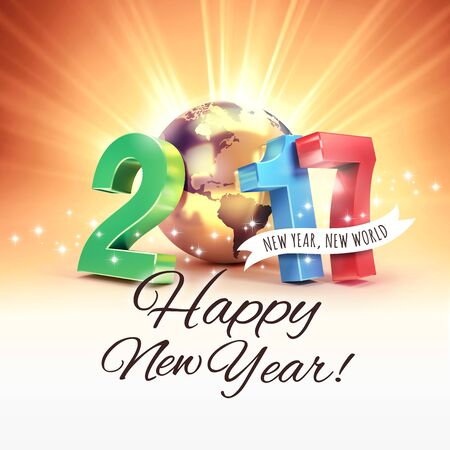 golden light: 2017 New Year colorful type composed with a golden planet earth, on a sunny light background - 3D illustration