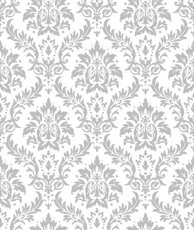 elegant white: Old style damask wallpaper. Seamless vector floral patterns. Illustration