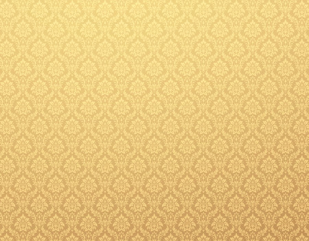 Gold damask wallpaper with floral patterns Stockfoto
