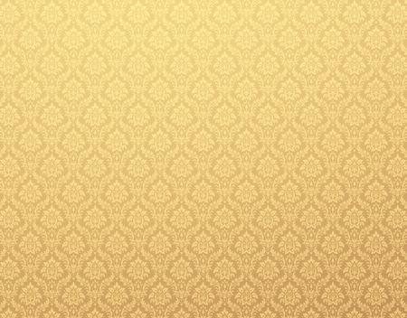 Papel tapiz de damasco de oro con motivos florales