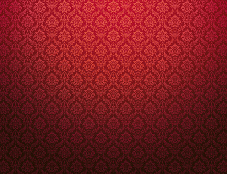 wallpaper wall: Red damask wallpaper with floral patterns