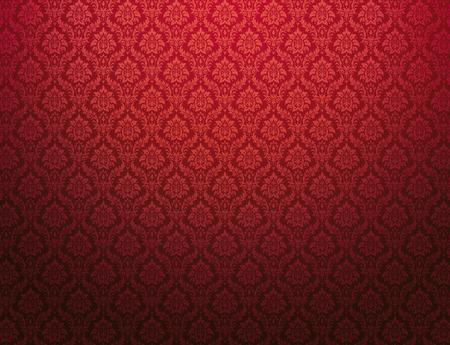 Rode damast behang met bloemmotieven