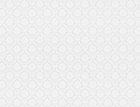 White damask wallpaper with royal floral patterns Stockfoto