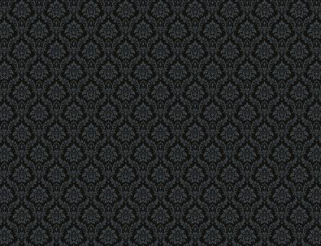 black damask: Black damask wallpaper with royal floral patterns