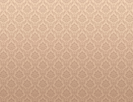 Brown damask wallpaper with floral patterns