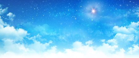 Blue sky background, white clouds and bright stars shining behind