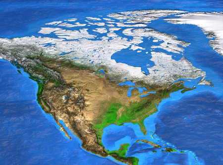 Detailed satellite view of the Earth and its landforms. North America map.