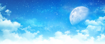faraway: Blue sky background, moon light in white clouds, bright stars shining behind Stock Photo