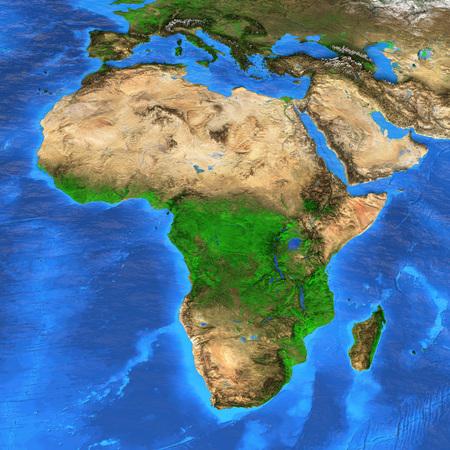Vista satelital detallada de la Tierra y sus accidentes geográficos. Mapa de África.