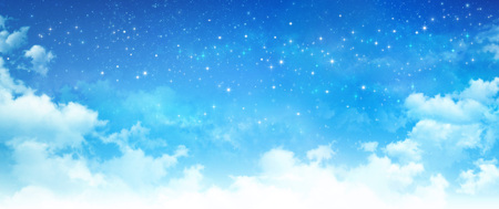 faraway: Evening blue sky background, white clouds and bright stars shining in deep space