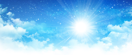 Early morning blue sky, shining sun breaking through white clouds, deep space and bright stars behind.