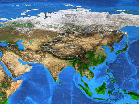 Detailed satellite view of the Earth and its landforms. Asia map