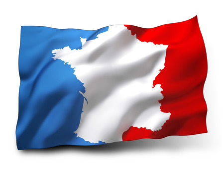 Waving flag of France, country borders drawn inside, isolated on white background