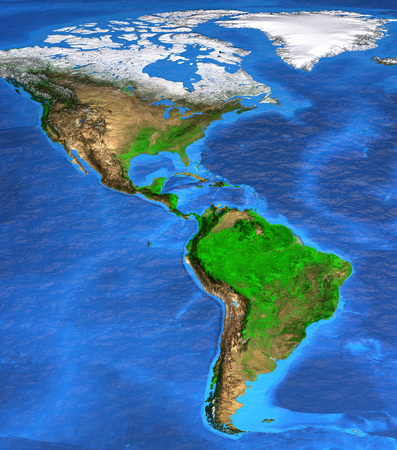 Detailed satellite view of the Earth and its landforms. North and South America map. Elements of this image furnished by NASA