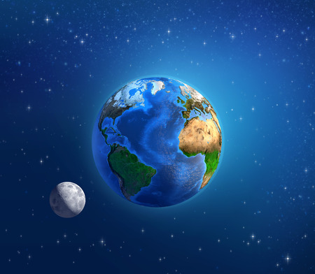Detailed image of the Earth and its landforms, under daylight and moonlight, viewed from outer space. Elements of this image furnished by NASA