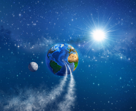 returning: Spaceships landing on planet Earth, sunlight shining behind into deep space. Elements of this image furnished by NASA - 3D illustration.