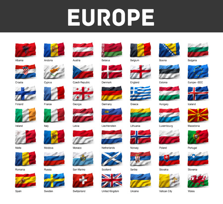 Flags of Europe waving in the wind, isolated on white background Imagens - 78525839