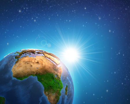 Earth in deep space, focused on African continent, sunrise shining on the horizon. - 3D illustration. Stock Photo