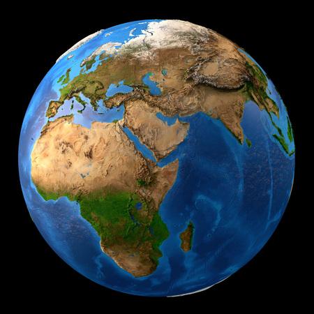 Planeta Tierra. Alta vista detallada de satélite de la Tierra y sus formas de relieve, aisladas sobre fondo negro.