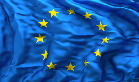 treaty: Full frame background of European flag blowing in the wind, facing turbulence