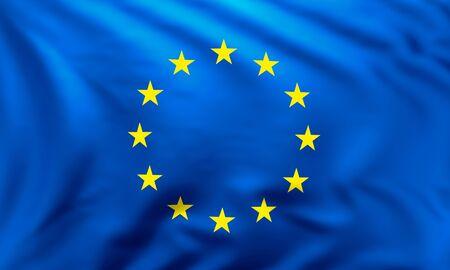 Full frame background of European flag blowing in the wind Reklamní fotografie
