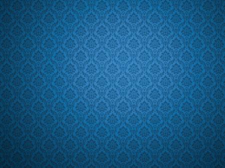 Papel pintado azul del damasco con los modelos florales Foto de archivo - 81492896